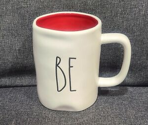 RAE DUNN ARTISAN COLLECTION MAGENTA LL BE MINE IVORY CUP MUG GLOSSY RED INTERIOR