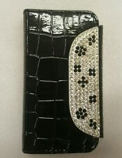 iphone 4 alligator design with bling, wallet case in black