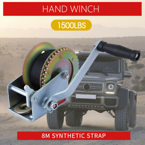 Hand-Winch-1500lbs-680Kg-2-Gears-8m-Synthetic-Cable-Boat-Trailer-4WD-Winch1500LB