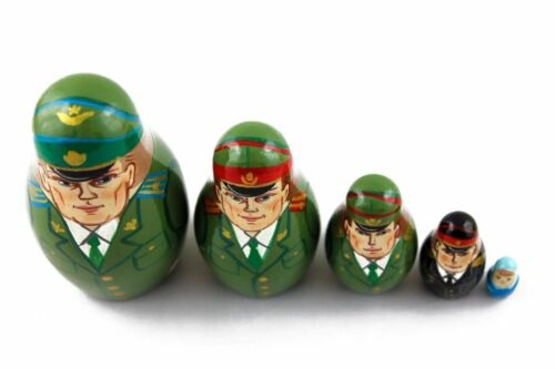 Matryoshka Officers Soldiers USSR Army Souvenir Russian Nesting Doll 5 Pcs