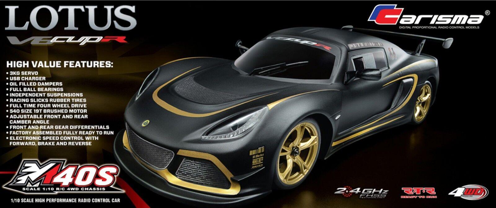 Carisma M40S 1 10 10 10 4WD Lotus Exige V6 Cup R listo para correr  compra limitada