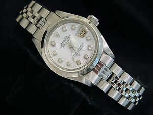 Rolex-Lady-Datejust-Stainless-Steel-Watch-White-Mother-of-Pearl-MOP-Diamond-6916