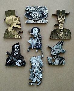 Set of 7 Day of the Dead Jose Posada Skeletons Laser Cut Wood Calaveras