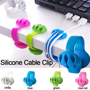 Cable-Drop-Clip-Desk-Tidy-Organiser-Wire-Cord-Lead-Line-USB-Charger-Holder-Fixer