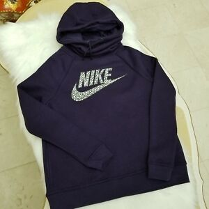 8acbea53aa67 Nike Women s Rally Funnel Neck Metallic Pullover Hoodie Size Small ...