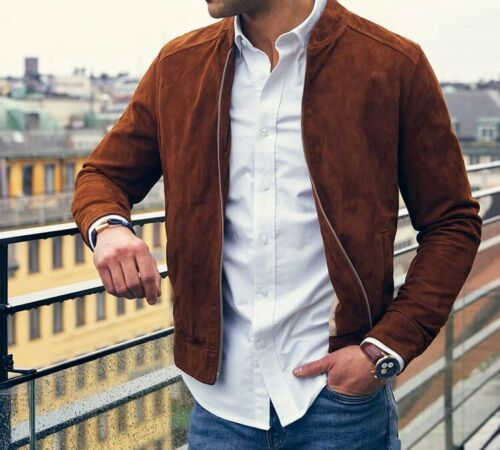 Classic Men/'s Stylish look 100/%Suede Leather Jacket
