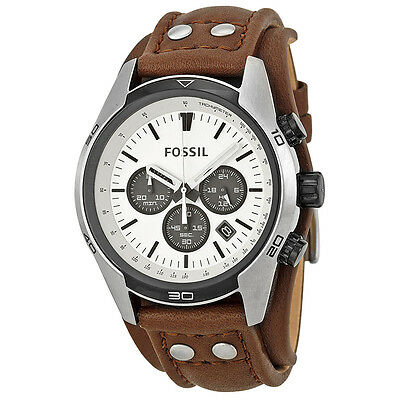 Fossil Coachman Chronograph White Dial Brown Leather Mens Watch CH2890