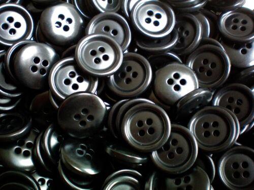 18 mm 23 mm Negro 4 agujero Botón De Satén Calidad Artesanal Costura niños W308-W309