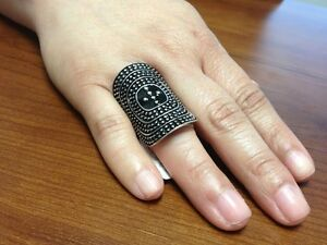 ANTIQUE-RETRO-SILVER-BLACK-OVAL-KNUCKLE-RING
