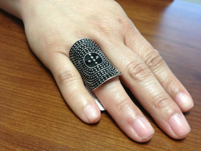 ANTIQUE RETRO SILVER BLACK OVAL KNUCKLE RING