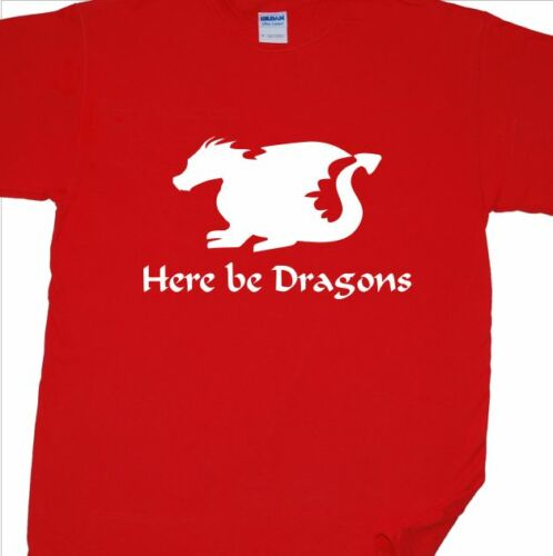 /'Here Be Dragons/' T-Shirt Wales, Welsh, Rugby, Map, OS, Fantasy