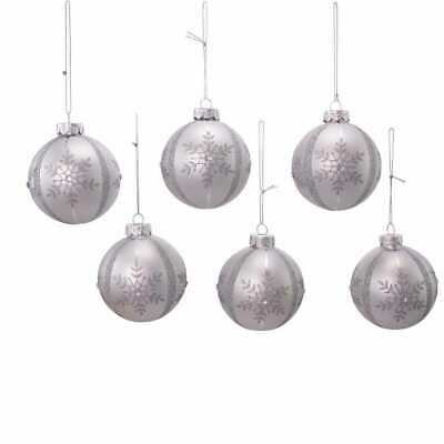 Kurt Adler 80mm Silver Snowflake Glass Ball Ornaments 6 Piece Box Set 86131543852 Ebay