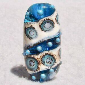 GLACIER Handmade Art Glass Focal Bead Flaming Fools Lampwork Art Glass SRA
