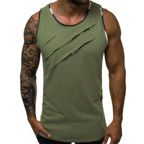Men Muscle Sleeveless Tee Shirt Vest Tank Tops Gym Athletic Loose Sports Casual