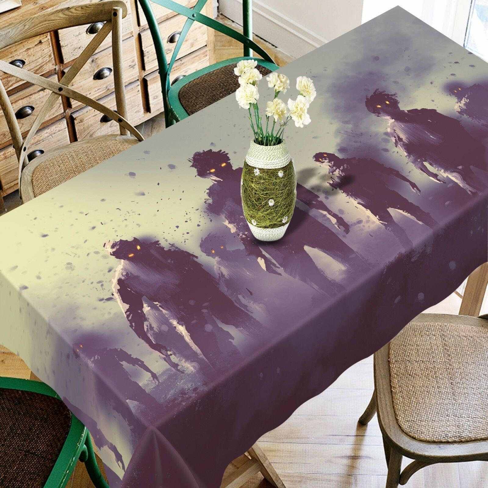 3D Zombie Group 4 Tablecloth Table Cover Cloth Birthday Party Event AJ WALLPAPER