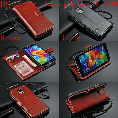 Genuine Real Leather Flip Photo Wallet Case Cover For Samsung Galaxy S5 i9600