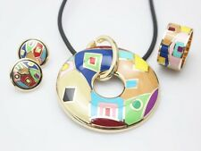 Hot Sale Colorful Zinc Alloy Enamel Jewelry Set (Necklace, Ring, Earrings)