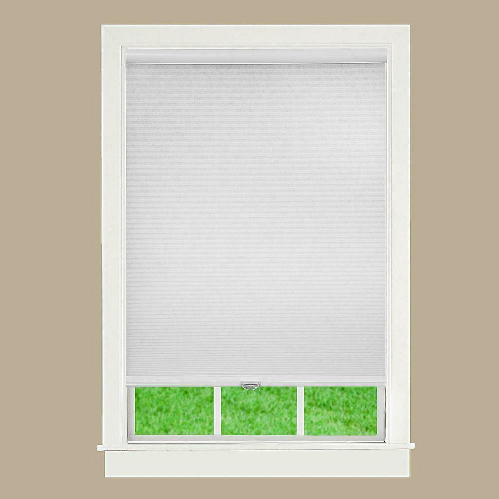 White 21.5W x 48H Inches DEZ Furnishings QCWT214480 Cordless Light Filtering Cellular Shade