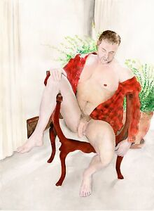 Painting-NUDE-male-Tery-watercolor-Red-Flannel-Shirt-1-13-50-ArtofEsteban