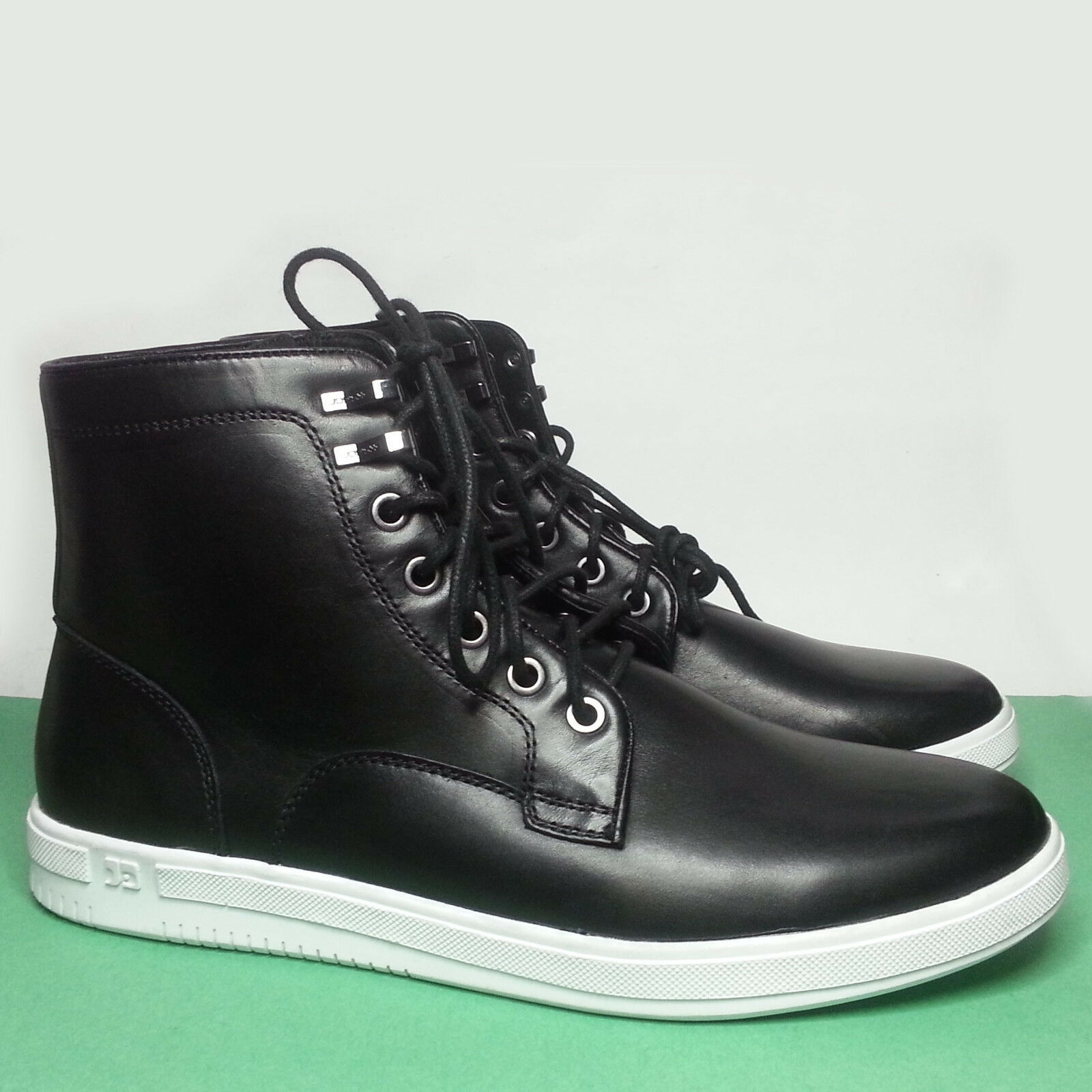 Joe's Men Size 8.5 Sneaker Boots Black Leather with White Sole