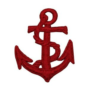 Iron on Applique//Embroidered Patch Red Anchor//White Rope Ship//Nautical
