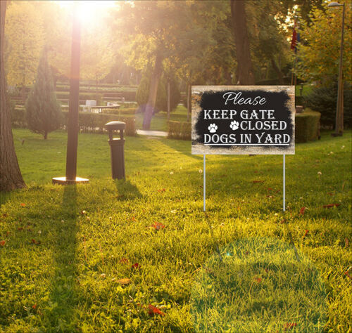 Outdoor Home Garden Decor Lawn Sign Please Keep Gate Closed Dogs In Yard Sign