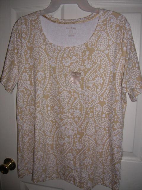 WOMENS shirt size X-large 16-18 khaki paisley COTTON  white stag Scoop neck T8