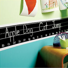 "WALLIES ALPHABET CHALKBOARD border wall stickers 76"" decals chalk ABC letters"