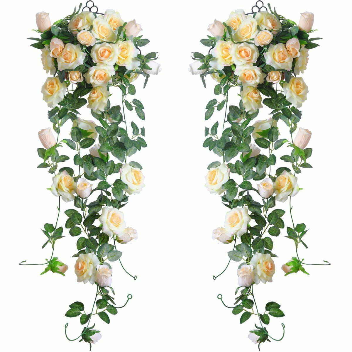 2 X Artificial Rose Vine Silk Flower Garland Hanging Plants Home