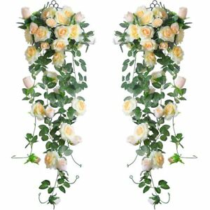 2pc Artificial Rose Vine Silk Flower Garland Hanging Baskets Plants