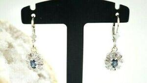 585er-Gold-Ohrringe-Saphir-Diamantsplitter-Haenger-Weissgold-14-Karat-2-80-Gr