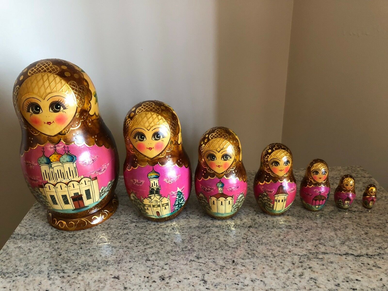 Vintage 1992 Hand Painted Russian Nesting Dolls Zagorsk Signed - 7 pcs  Churches