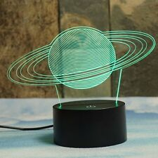 Saturns Rings 3D Illusion Lamps, Elstey 7 Color Changing Touch Table Desk LED