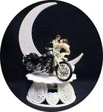 Motorcycle Wedding Cake Topper W/ GREEN Harley Davidson Funny Groom Top Bike