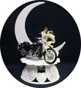 Motorcycle Wedding Cake Topper W Green Harley Davidson