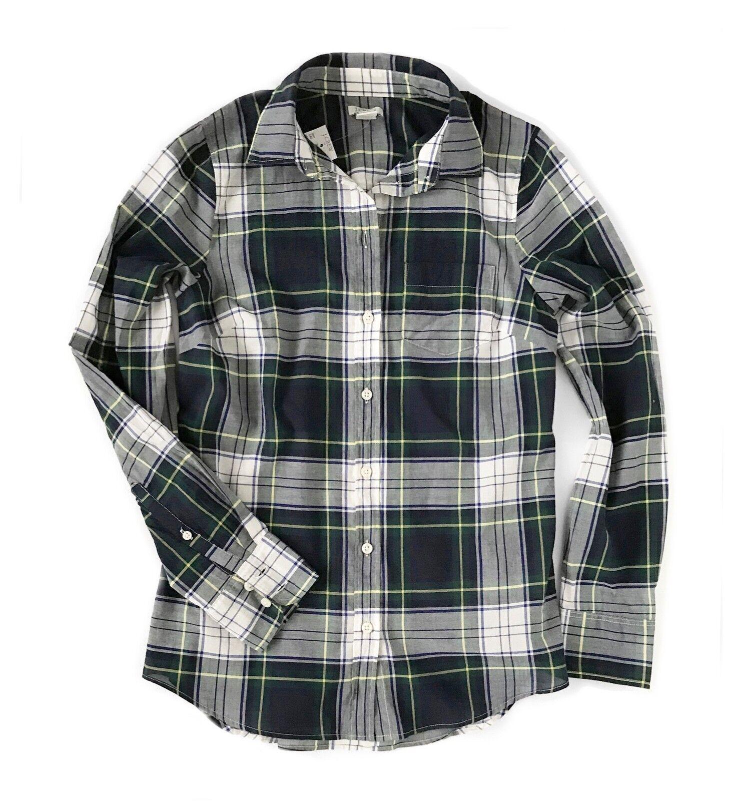 J.Crew Factory Womens XS - Light-Weight Navy Green Glen Plaid Button-Down Shirt