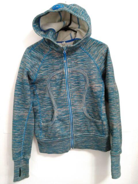 Women's Small Lululemon Athletica Blue Gray Fleece Lined Zip Hoodie Sweatshirt