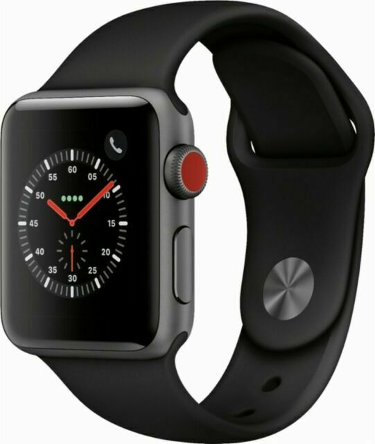 Apple Watch Series 3 38mm Space Gray Aluminum Case Black Sport Band Cellular For Sale Online Ebay
