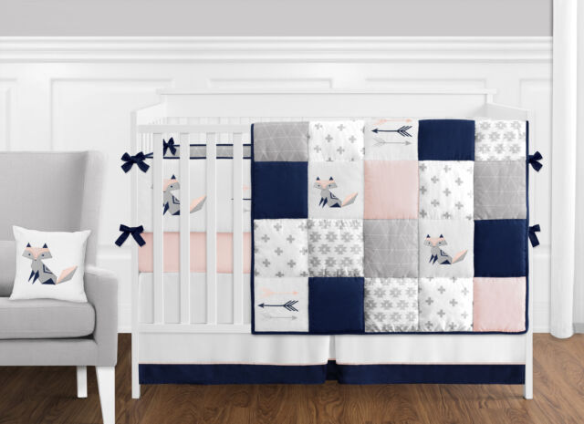 Bumperless Navy Blue Grey Pink Fox, Baby Girl Pink And Grey Cot Bedding