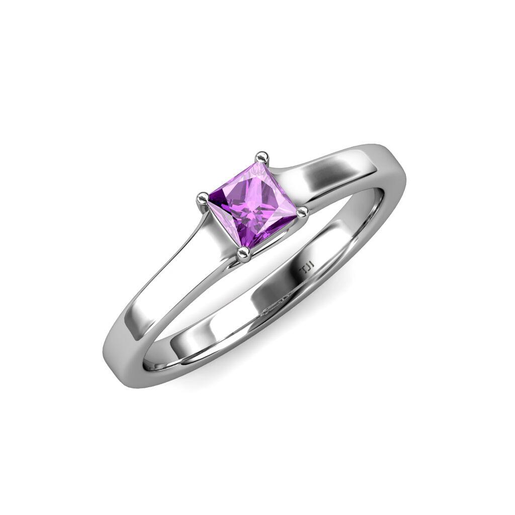 Amethyst Princess Cut Solitaire Engagement Ring 0.55 ct 14K gold JP 81690
