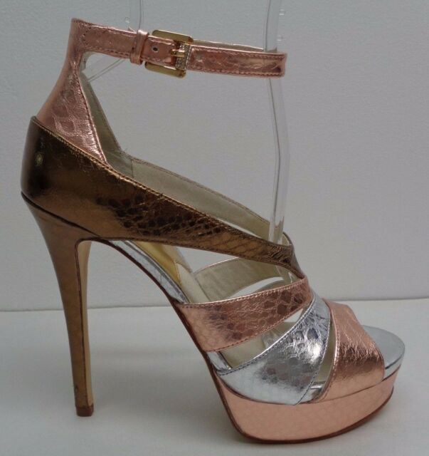 3f83ee0d9fbd Michael Kors Size 9 M Leighton Ankle Strap Rose Gold Sandals Womens Shoes  for sale online