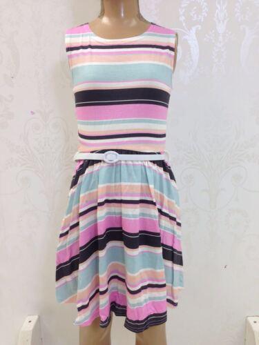 New Girls Kids Pink Blue Striped Skater Belt Dress Bodycon Age 7 8 9 10 11 12 13