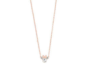DISNEY-STERLING-SILVER-MINNIE-MOUSE-BOW-CRYSTAL-NECKLACE-ROSE-GOLD-TONE-16-034
