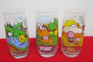 676dee048e Image is loading Vintage-3-Lot-Set-Camp-Snoopy-McDonalds-glasses-
