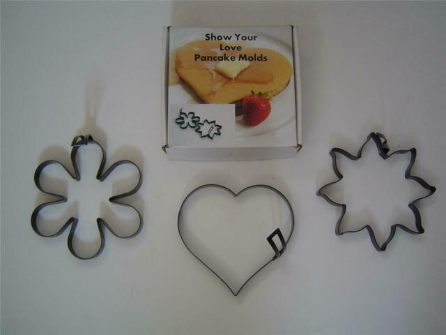 NEW Set of 2 Stainless Steel Egg Hearts with Handles Perfect Heart Shape Moulds
