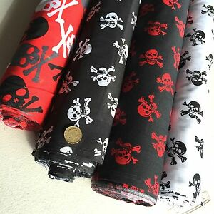 White With Black Skulls poly cotton fabric  white 114 cm