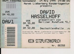 DAVID HASSELHOFF Used Ticket Berlin 19.03.1994 - Berlin, Deutschland - DAVID HASSELHOFF Used Ticket Berlin 19.03.1994 - Berlin, Deutschland