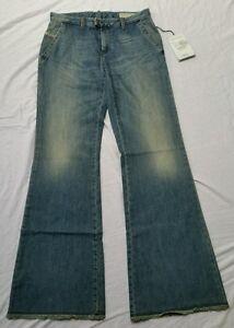 25bfee8e BNWT DIESEL FLAIRLEGG Ladies Relaxed Flare Wide Leg Blue Jeans Reg ...