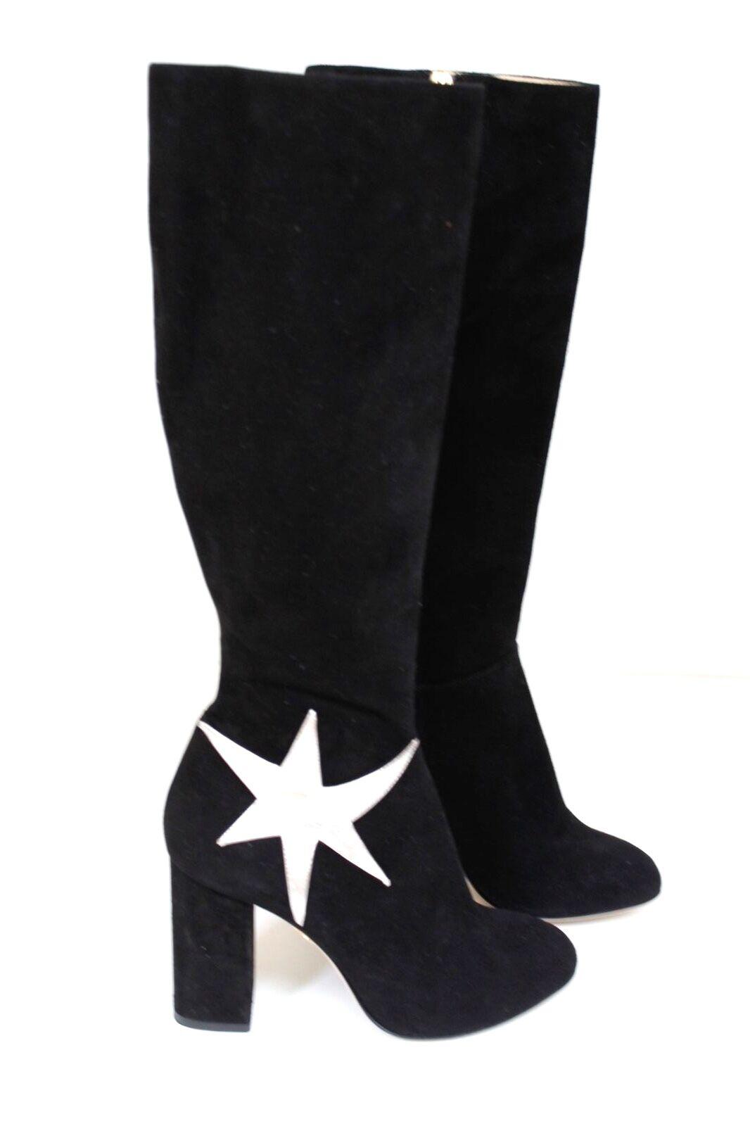 CHARLOTTE OLYMPIA Barbara metallic appliquéd schwarz suede Stiefel 36 uk 3
