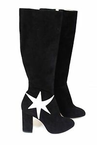 Image is loading CHARLOTTE-OLYMPIA-Barbara-metallic-appliqued-black-suede- boots-